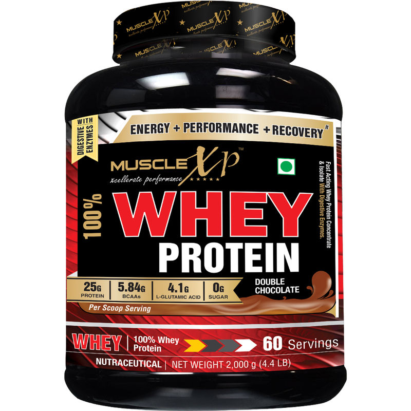 MuscleXP 100% Whey Protein, Double Rich Chocolate - The New Whey Standards - 2Kg (4.4 Lbs)