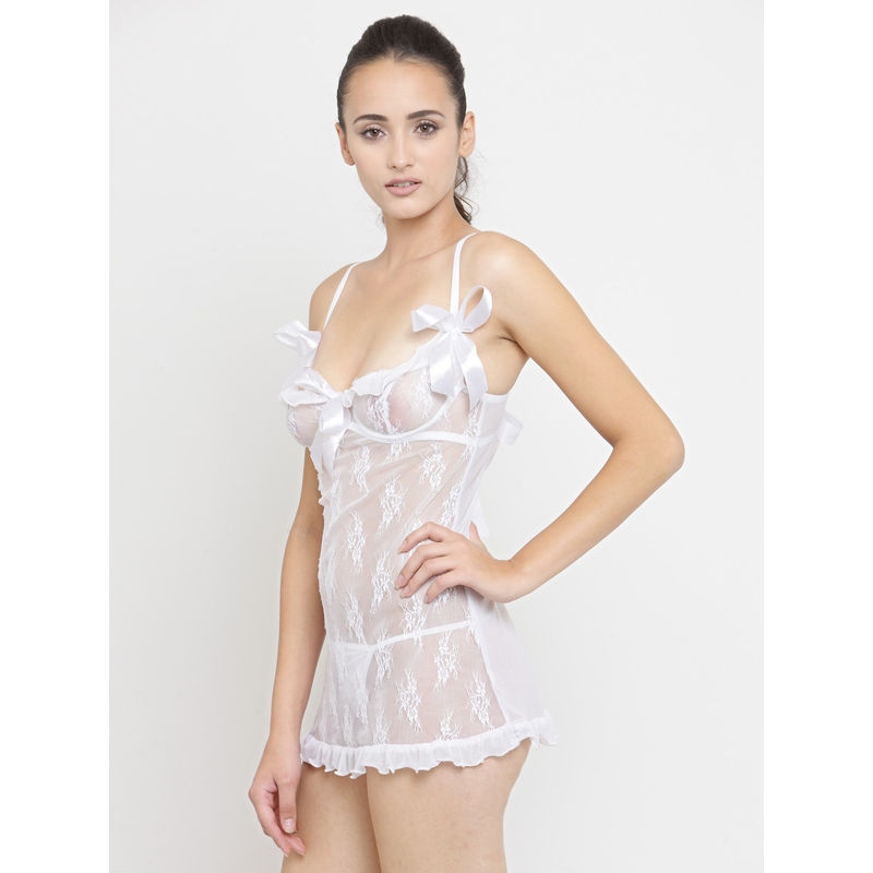 N-Gal Deep Lace Neck Sheer White Net Sexy Babydoll Night Dress with  G-String Nightwear at Nykaa.com ba1187c3a