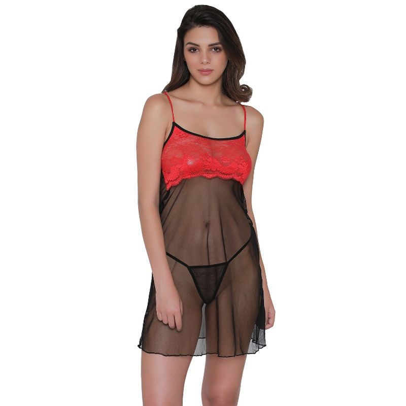 19650b5cc Clovia Sheer Babydoll With Thong - Black at Nykaa.com