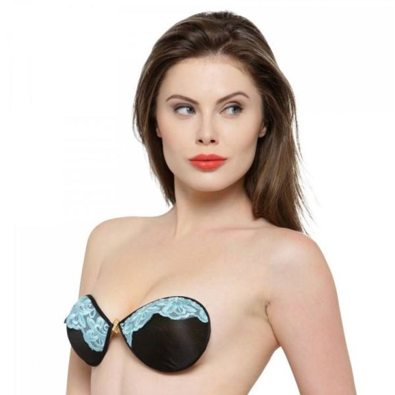 5282171ac5 N-Gal Floral Lace Design Front Closure Self Adhesive Black Invisible Stick  On Backless Strapless Bra at Nykaa.com