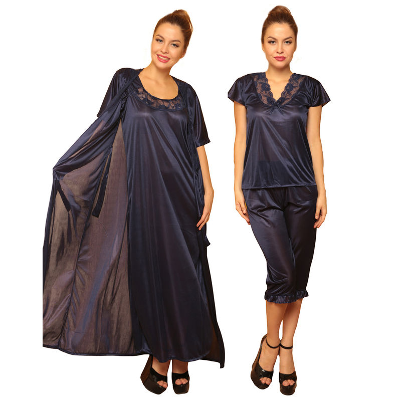 Clovia 4 Pcs Satin Nightwear In Navy - Robe 96ff77c8e
