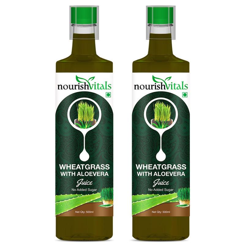 Nourish Vitals WheatGrass With Aloe Vera Juice No Added Sugar - 2 Bottles