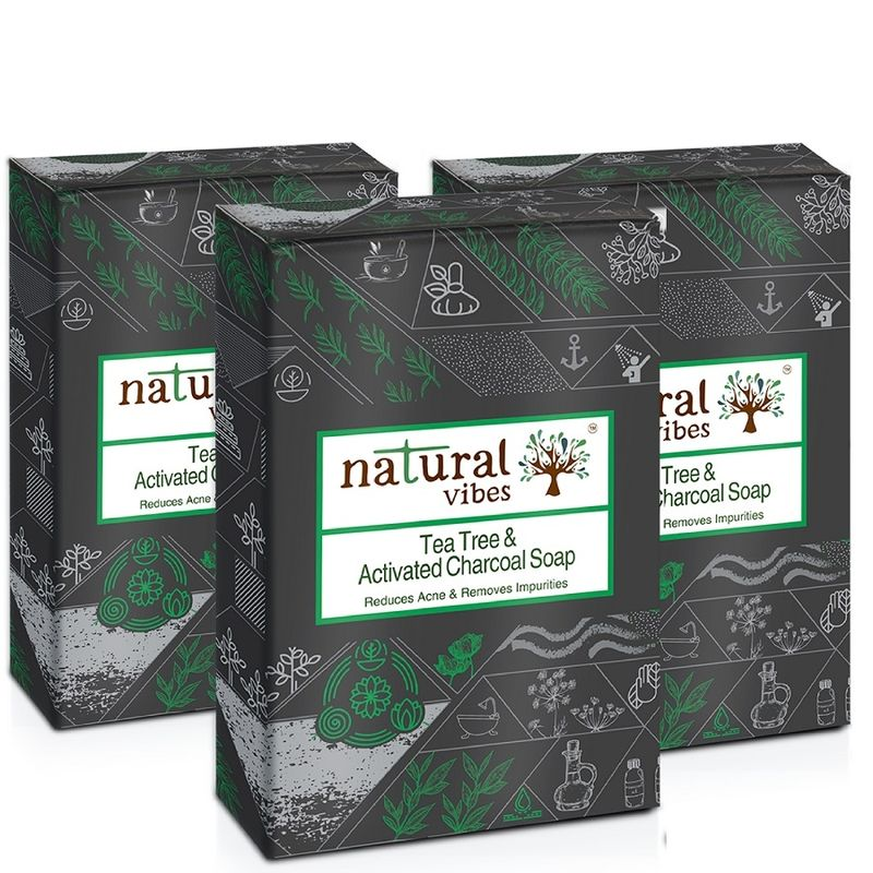 Natural Vibes Tea Tree And Activated Charcoal Soap - Pack Of 3