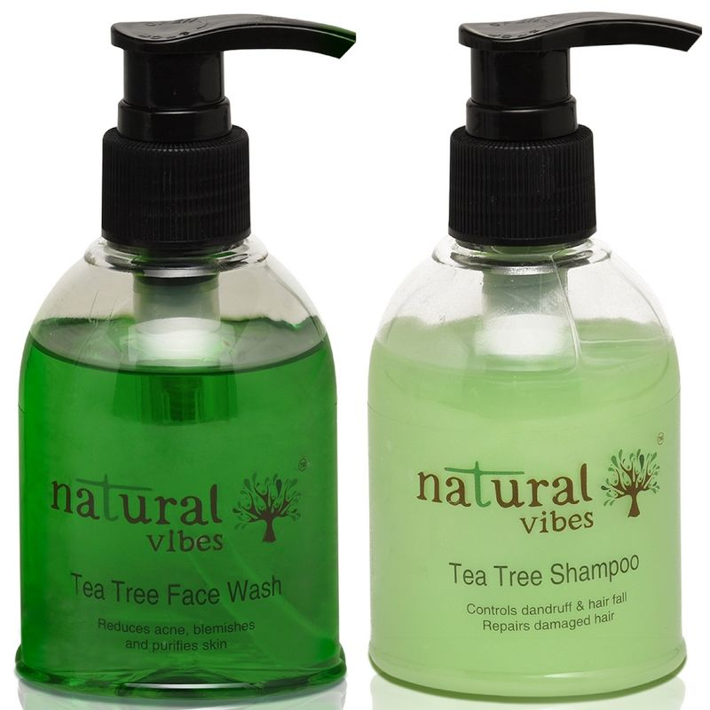 Natural Vibes Ayurvedic Tea Tree Face Wash And Shampoo Everyday Treatment Combo