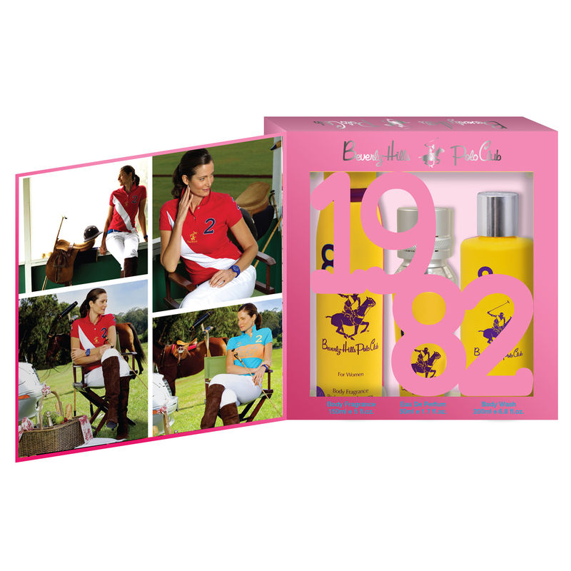 Beverly Hills Polo Club Women Body Fragrance, Body Wash And Eau De Parfum No.8 Gift Set
