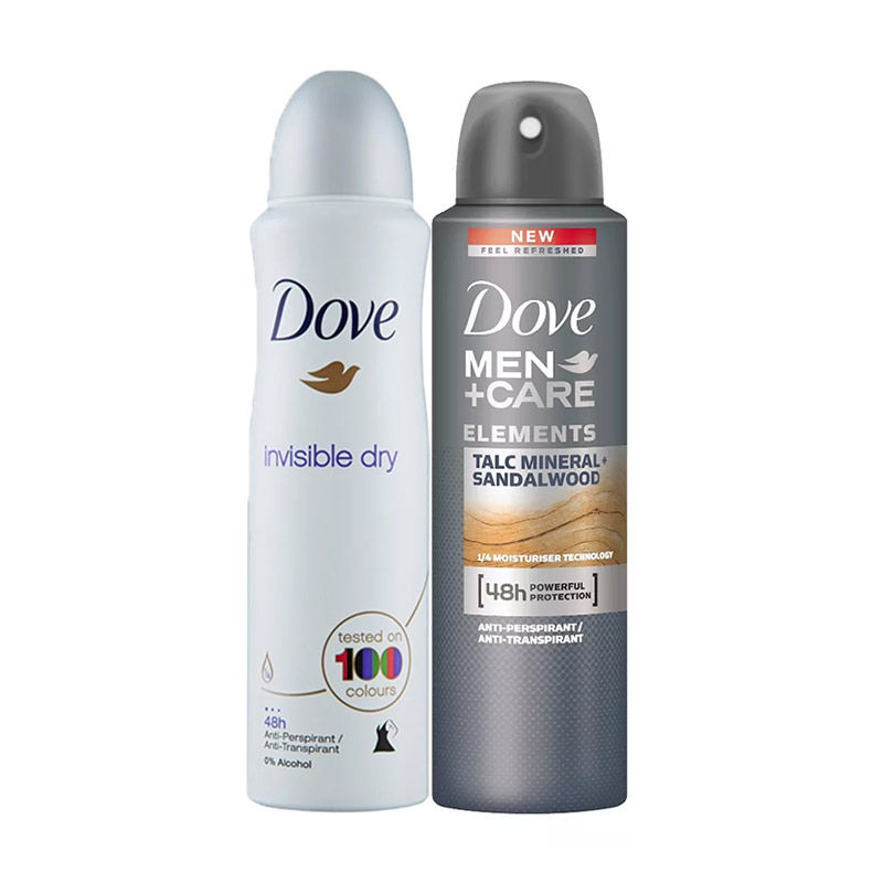Dove Spray Antiperspirant Deodorant Invisible Dry + Men+Care Antiperspirant Deodorant Talc Mineral + Sandalwood Combo