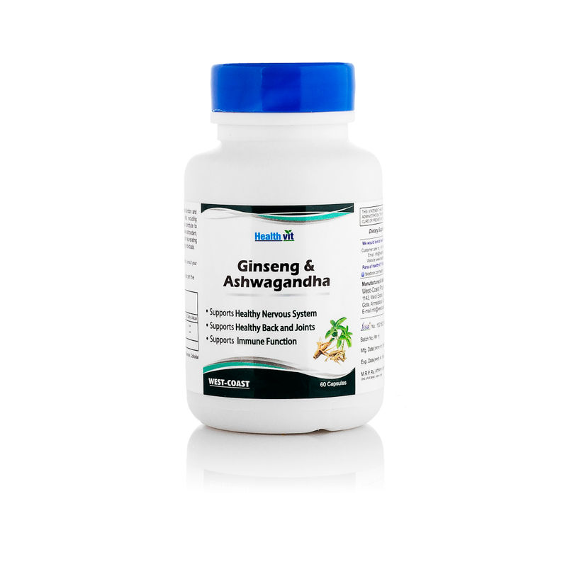 HealthVit Ginseng With Ashwagandha 60 Capsules