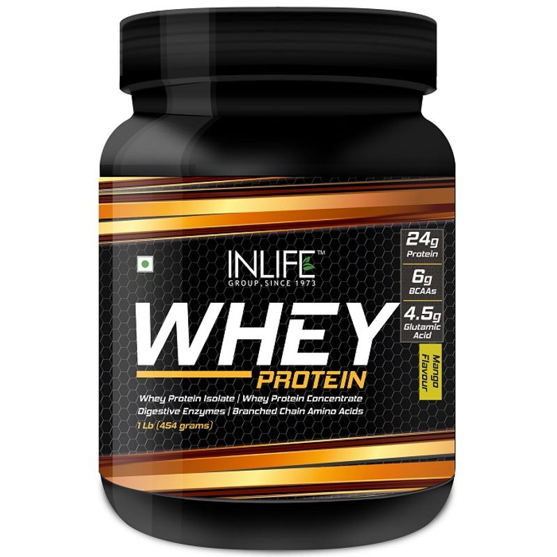 INLIFE Whey Protein Powder Body Building Supplement Mango Flavour 454gm