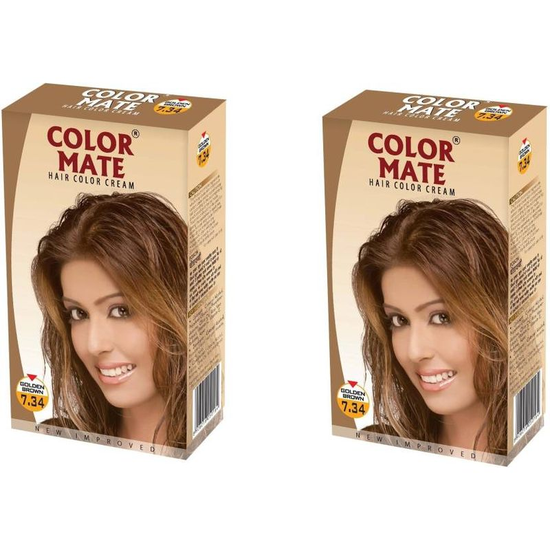 Color Mate Hair Color Cream - Golden Brown (Pack Of 2)