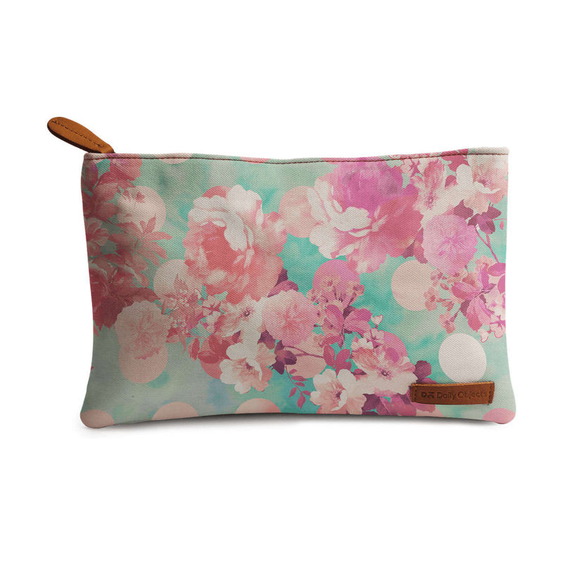 DailyObjects Romantic Pink Retro Floral Pattern Teal Polka Dots Regular Stash Pouch