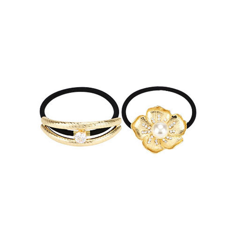 Missy Oblong Diamond Embedded And Must Have Flower Rubber Band Pack Of 2