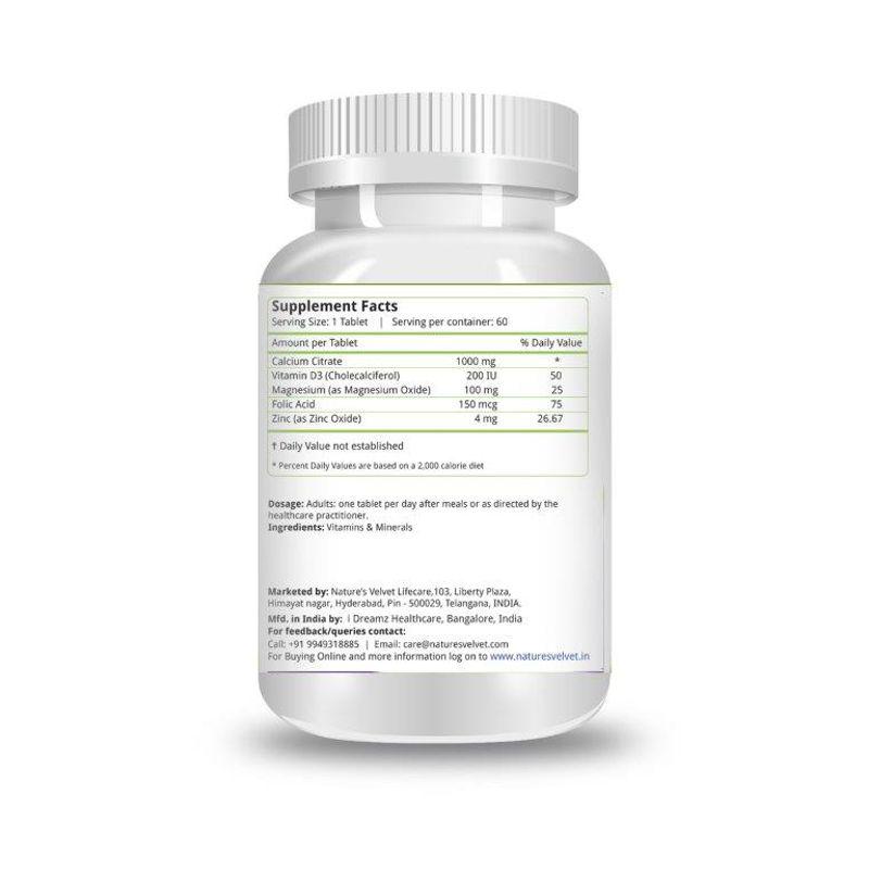 d4d2308f354b Nature s Velvet Calcium Magnesium Zinc With Vitamin D3 60 Tablets at  Nykaa.com