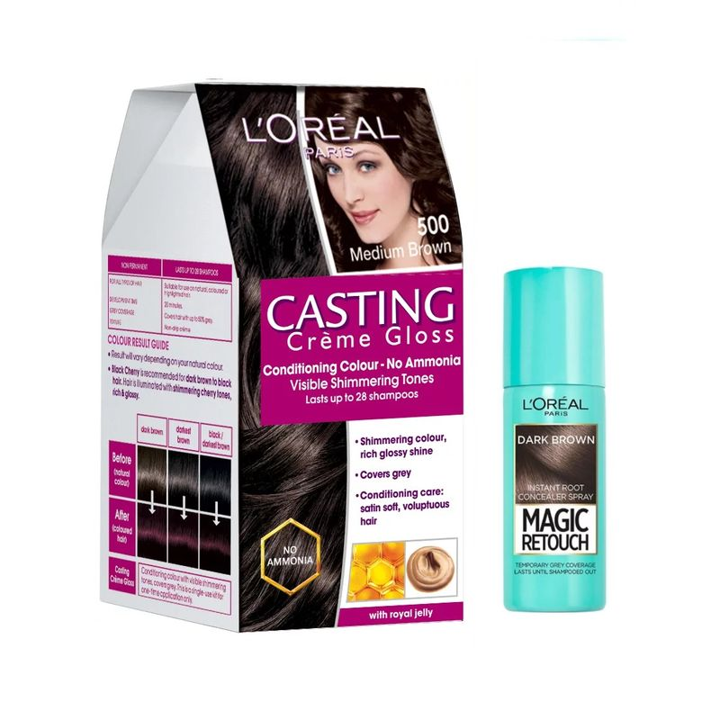 L'Oreal Paris Casting Creme Gloss Hair Color - 500 Medium Brown + Magic Retouch Instant Root Concealer - 2 Dark Brown