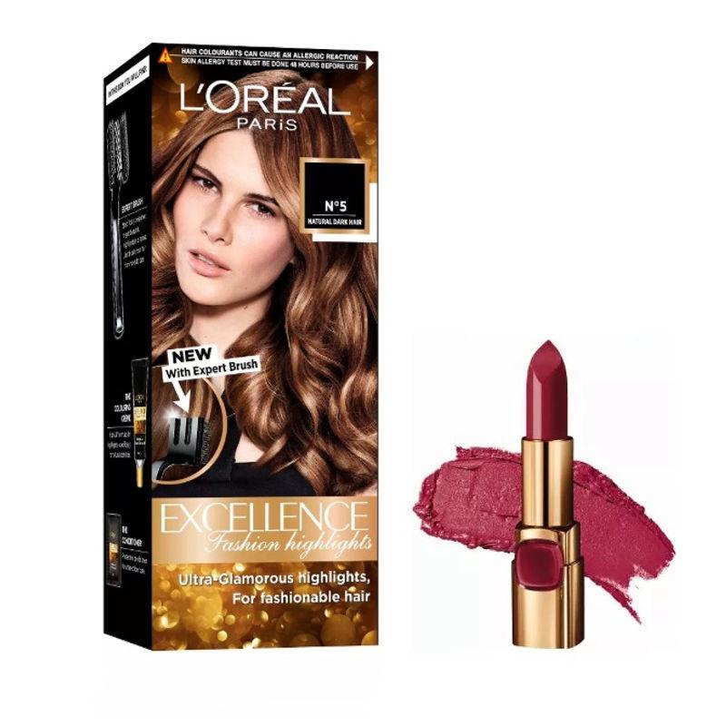 L'Oreal Paris Color Riche Moist Matte Lipstick - RW513 Black Cherry + Fashion Highlights Hair Color - Honey Blonde