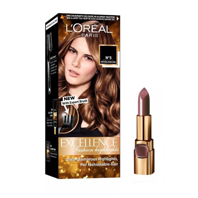 L'Oreal Paris Color Riche Moist Matte Lipstick - 226 Brown Sucré + Fashion Highlights Hair Color - Honey Blonde