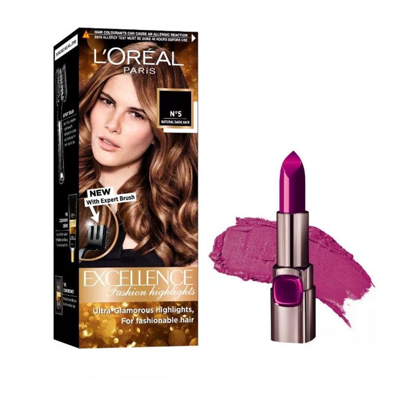 L'Oreal Paris Color Riche Moist Matte Lipstick - 236 Vin De Fantasme + Fashion Highlights Hair Color - Honey Blonde