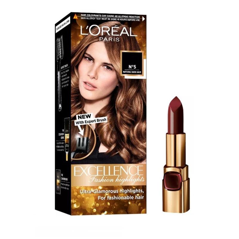 L'Oreal Paris Color Riche Moist Matte Lipstick - 241 Purple Call Time + Fashion Highlights Hair Color - Honey Blonde
