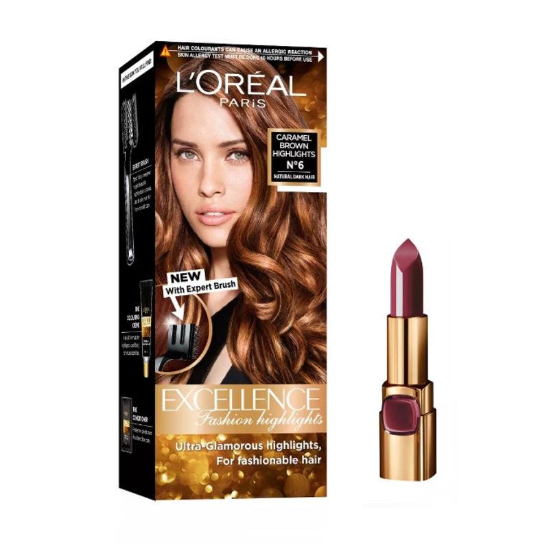 L'Oreal Paris Color Riche Moist Matte Lipstick - 223 Wine Marsala + Fashion Highlights Hair Color - Caramel Brown