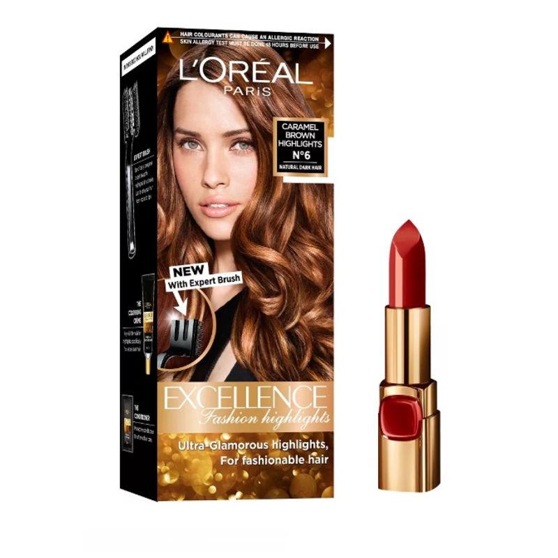L'Oreal Paris Color Riche Moist Matte Lipstick - 240 Crimon En Scene + Fashion Highlights Hair Color - Caramel Brown