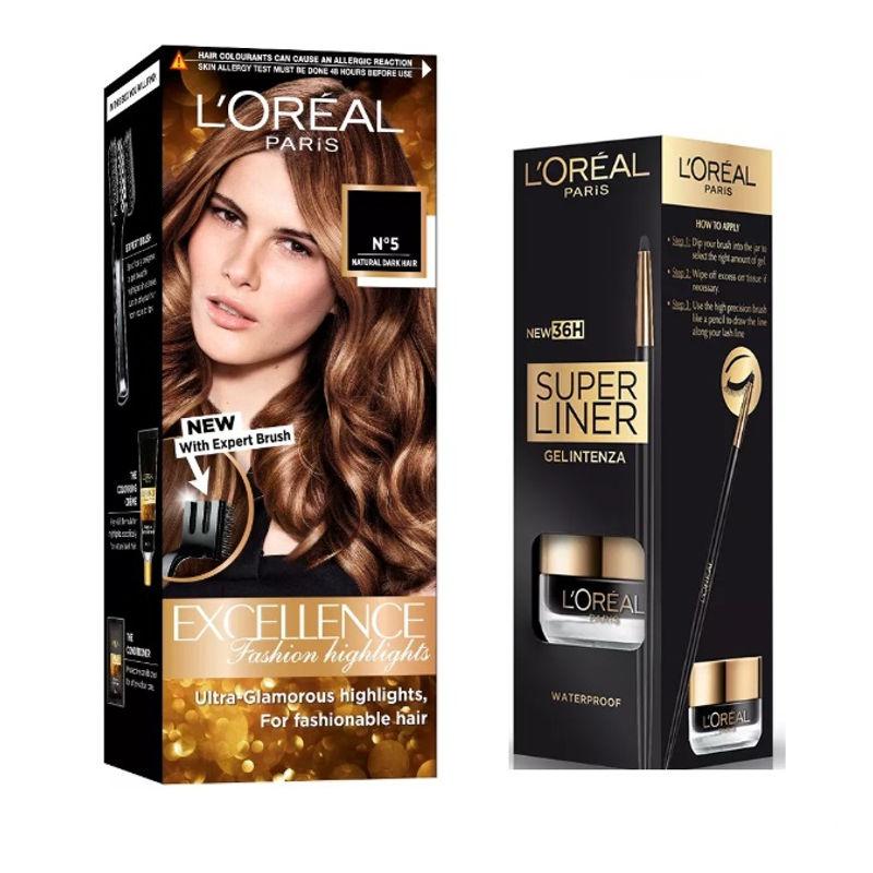 L'Oreal Paris Super Liner Gel Intenza 36H - Profound Black + Fashion Highlights Hair Color - Honey Blonde