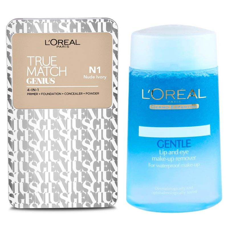 Buy L'Oreal Paris True Match Genius 4-In-1 Compact Foundation - Nude Ivory N1 & Get Lip And Eye Make-Up Remover Free