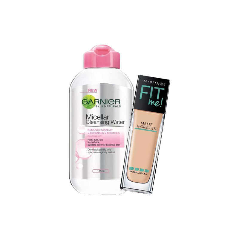 Maybelline New York Fit Me Matte + Poreless Foundation - 128 Warm Nude + Garnier Skin Naturals Micellar Cleansing Water