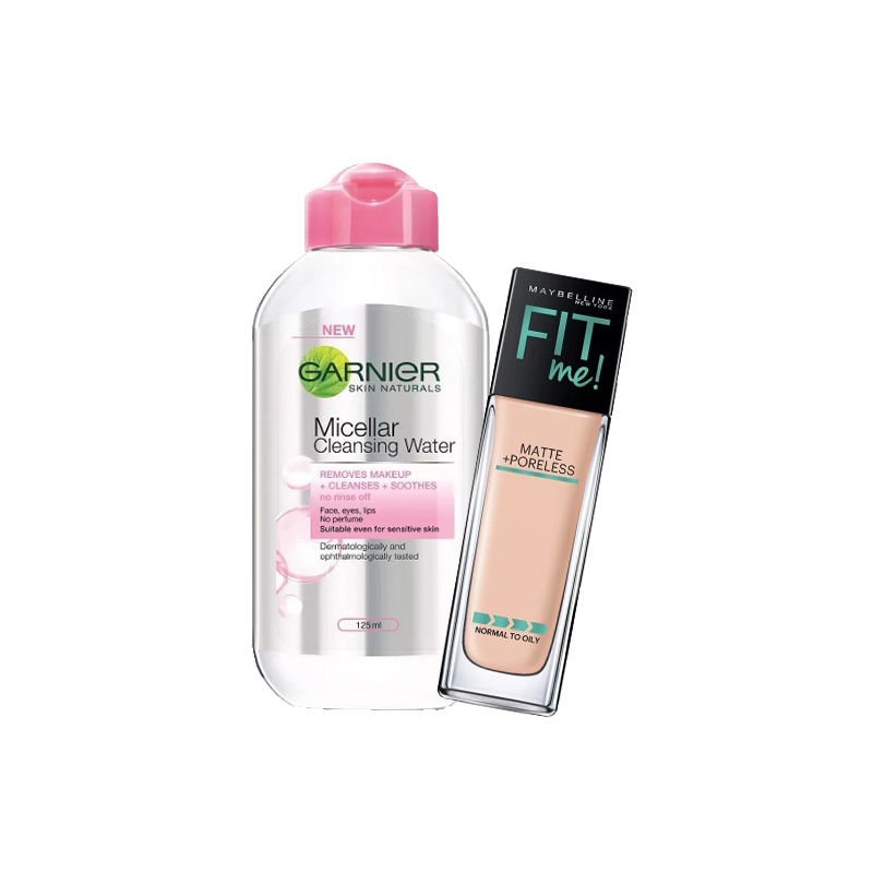Maybelline New York Fit Me Matte + Poreless Foundation - 310 Sun Beige + Garnier Skin Naturals Micellar Cleansing Water