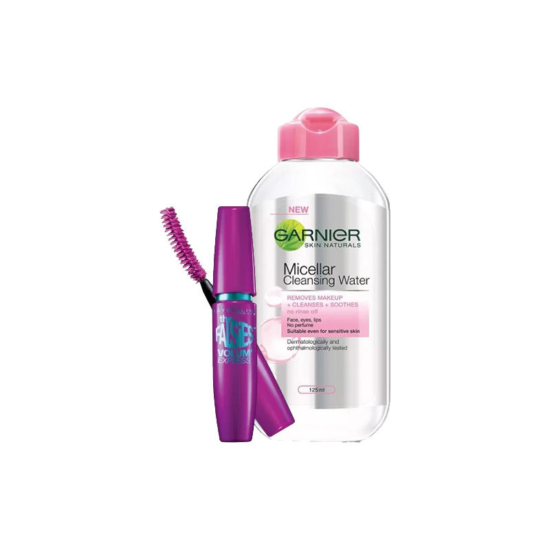 Maybelline New York Volum' Express Falsies Mascara - Black Washable + Garnier Skin Naturals Micellar Cleansing Water