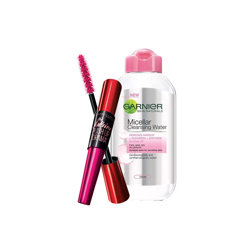 Maybelline New York Falsies Push Up Drama Mascara - Washable + Garnier Skin Naturals Micellar Cleansing Water