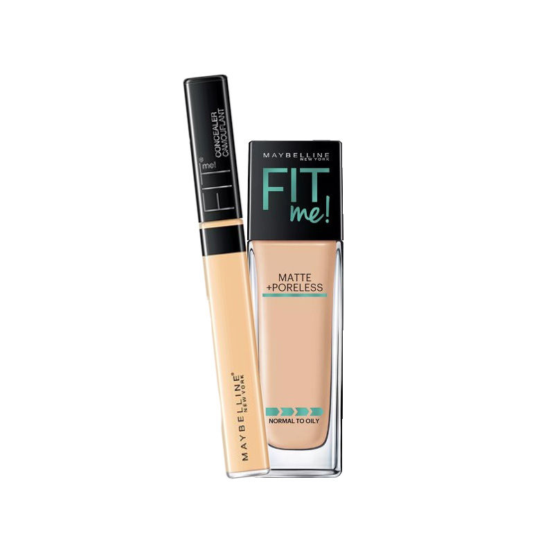 Maybelline New York Fit Me Matte + Poreless Foundation - 128 Warm Nude + Fit Me Concealer - 25 Medium