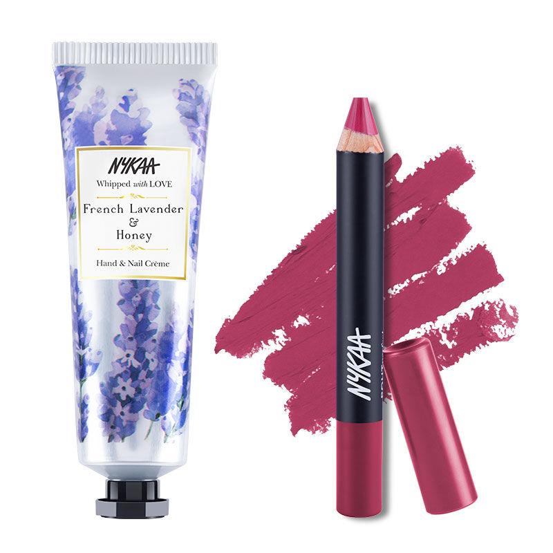 Nykaa Hand & Nail Creme - French Lavender & Honey + Pout Perfect Matte Crayon Lipstick - Like To Mauve It! 14 Combo