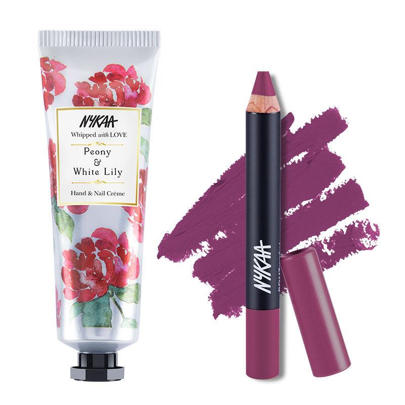 Nykaa Hand & Nail Creme - Peony & White Lilly + Pout Perfect Matte Crayon Lipstick - Please Plum Me 01 Combo