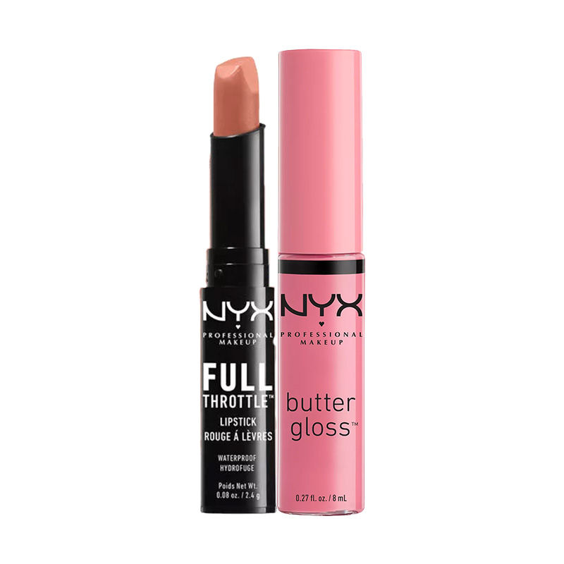 NYX Professional Makeup Full Throttle Lipstick - Sidekick + Makeup Butter Gloss - Vanilla Cream Pie