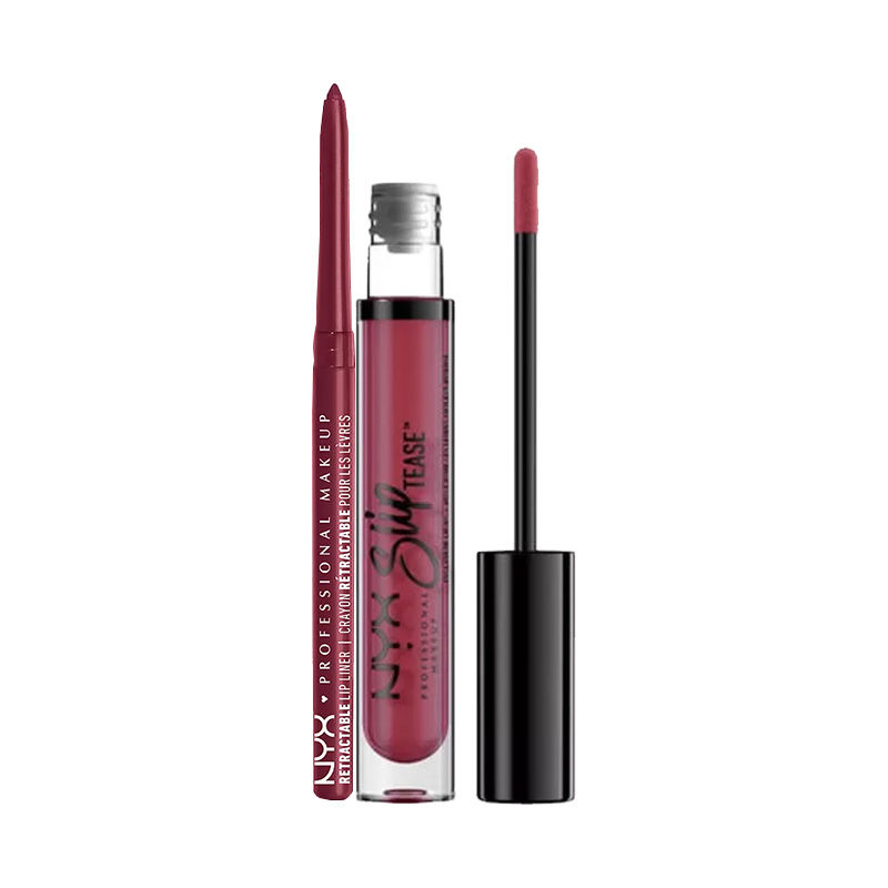 NYX Professional Makeup Retractable Lip Liner - Plum + Makeup Slip Tease Full Color Lip Oil - Fire Dancer
