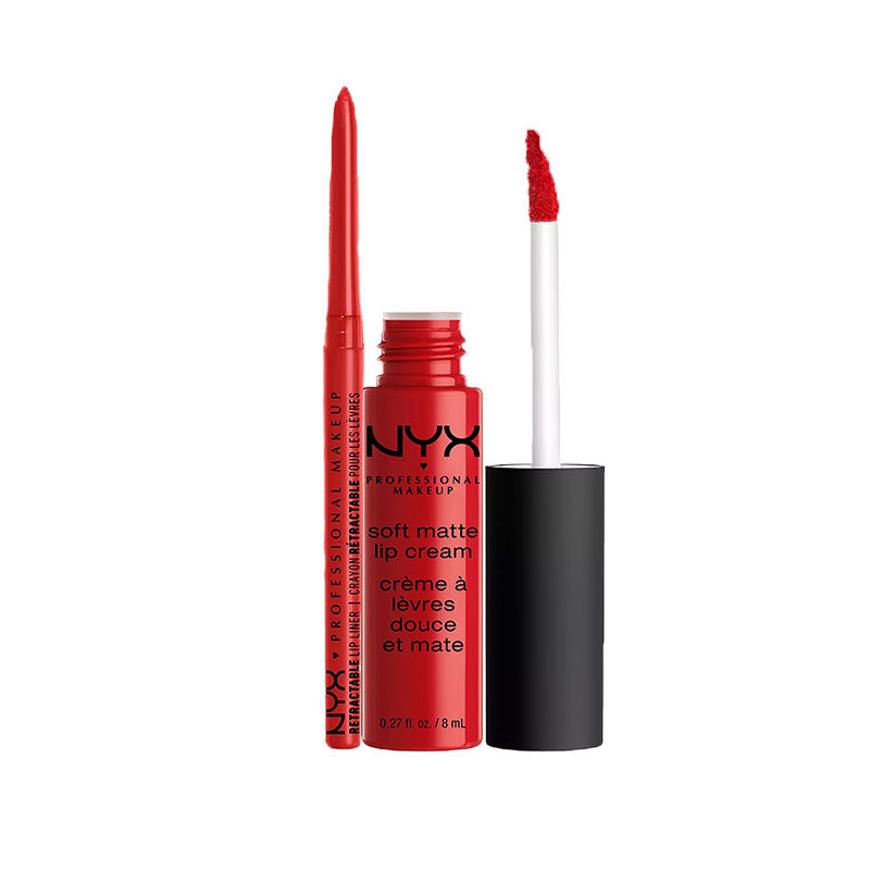NYX Professional Makeup Retractable Lip Liner - Ruby + Makeup Soft Matte Lip Cream - Amsterdam