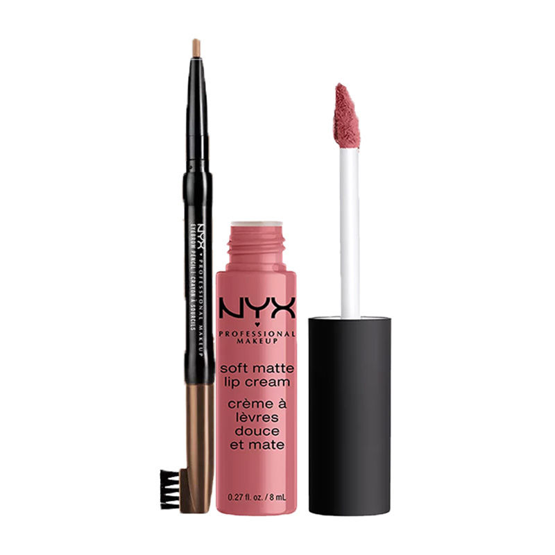 NYX Professional Makeup Auto Eyebrow Pencil - Light Brown + Makeup Soft Matte Lip Cream - Beijing
