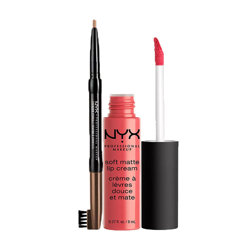 NYX Professional Makeup Auto Eyebrow Pencil - Light Brown + Makeup Soft Matte Lip Cream - Antwerp