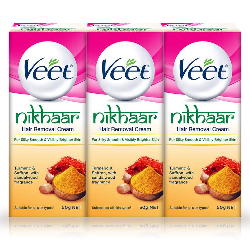 Veet Nikhaar Hair Removal Cream, All Skin Types - 50 G (Pack Of 3)