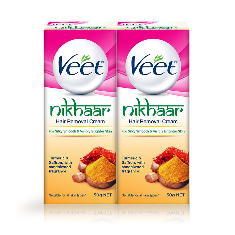 Veet Nikhaar Hair Removal Cream, All Skin Types - 50 G (Pack Of 2)