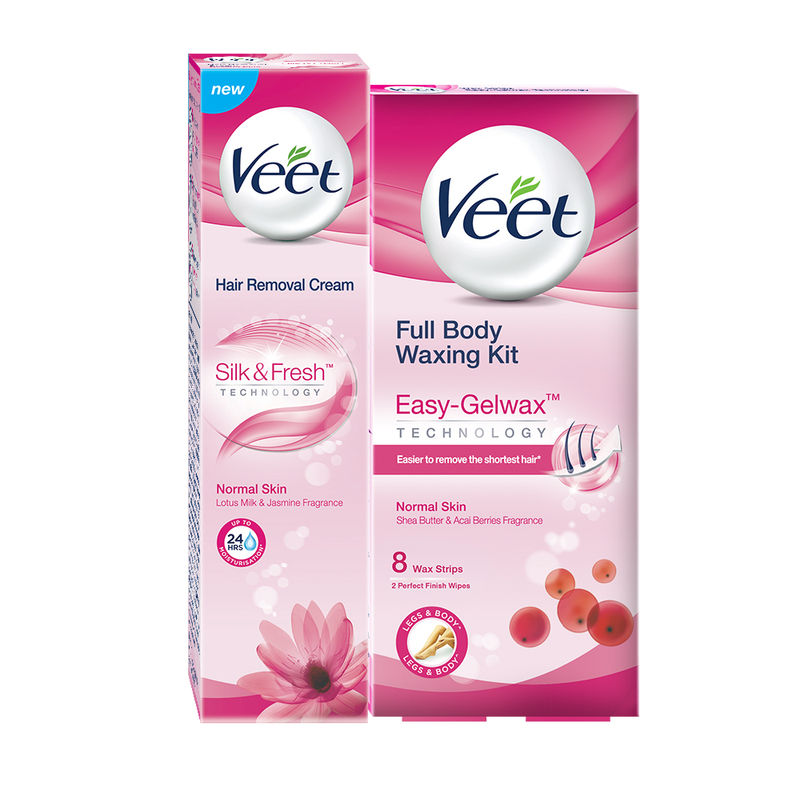 Veet Silk & Fresh Hair Removal Cream, Normal Skin - 100 G With Easy-Gelwax Technology Instant Waxing Kit, Normal Skin - 8 Strips