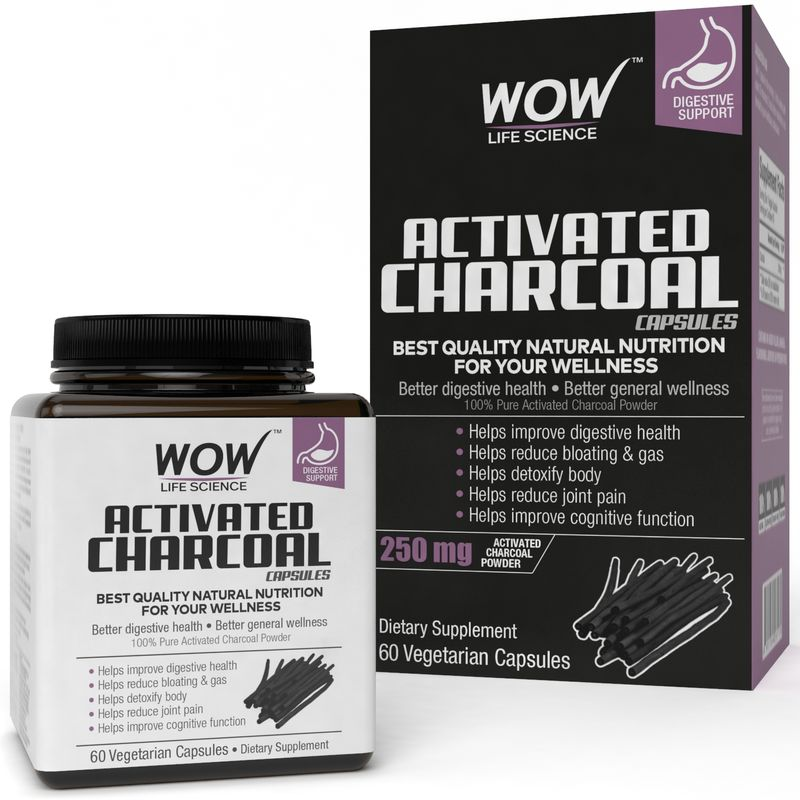 WOW Life Science Activated Charcoal Capsules 60 Capsules