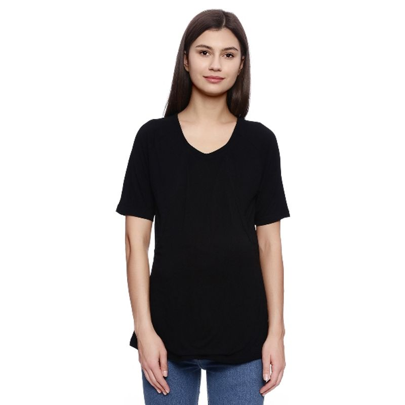 Zivame Made For Moms Layered Front Maternity And Nursing Top - Black