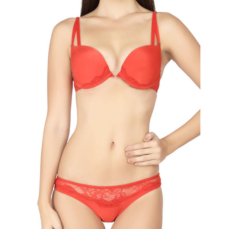 78287844fbe62 S.O.I.E Double Strap Push Up Bra And Panty Set - Red at Nykaa.com