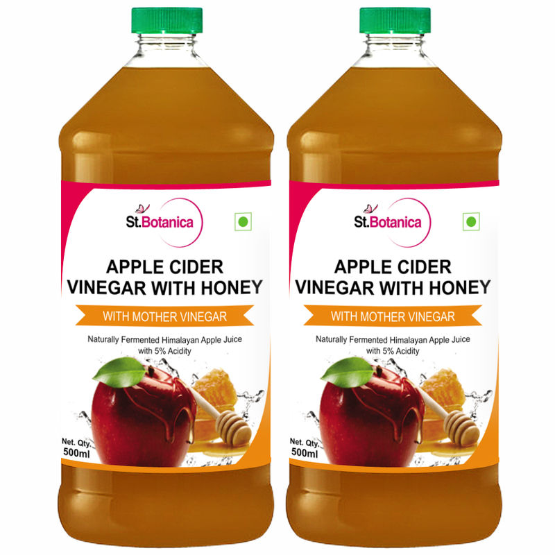St.Botanica Apple Cider Vinegar With Honey - Natural With Goodness Of Mother Of Vinegar - 500ml X 2