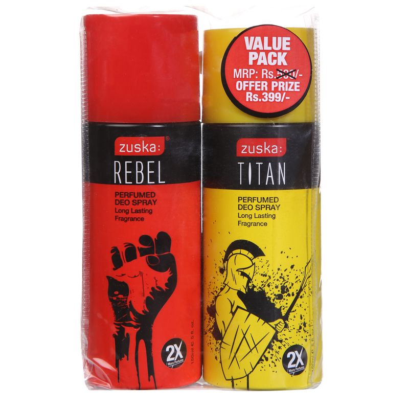 Zuska Perfumed Deo Spray Value Pack - Rebel And Titan(Rs.101 OFF)