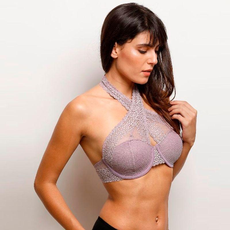 6e8e18858ff57 Zivame Moroccan Lace Halter Neck Wired Bralette - Purple at Nykaa.com