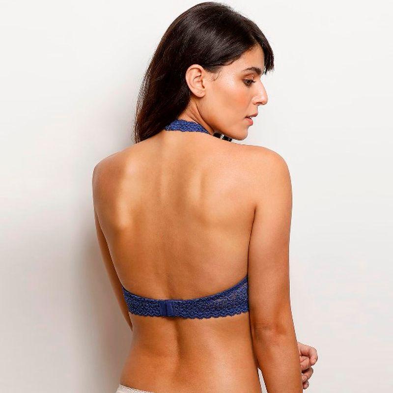 8691952bb444b Zivame Underwired - Buy Zivame Moroccan Lace Halter Neck Wired Bralette -  Blue Online in India