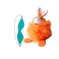 Basicare Mesh Body Sponge Rabbit + Cold Soothing Mini Gel Eye Mask Combo Pack