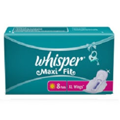 Whisper Maxi Fit Sanitary Pads Extra Large Wings Size 8 pc Pack