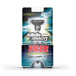 Gillette Mach 3 Razor Nano Thin Blades + Free Gillette Shaving Cream Regular 30gm